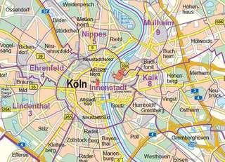 Ubersichtskarte 1 100 000 Stadt Koln