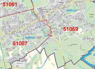 Postleitzahlenkarte Stadt Koln